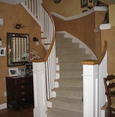 Architectural Faux Finish Great Room Kirkland two toned entry hall white railing