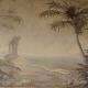 Sepia Murals Palm Trees and Beach Tropical Parchment Mural Bellevue tropical mural artist sepia mural Seattle