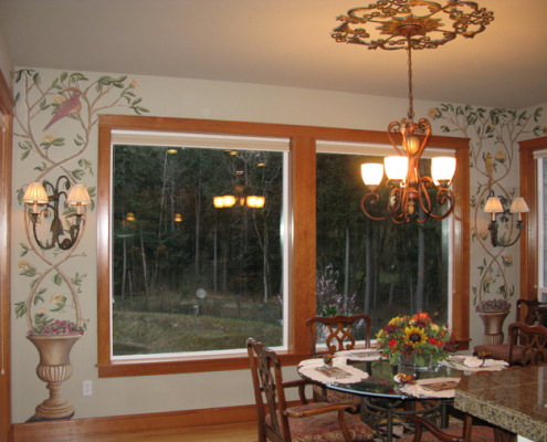 murals trompe l'oeil doorways and views Topiary Mural With Birds Dining Room Tacoma garden mura;list houzz ideas interior design metal medallion chandelier sconces Seatle