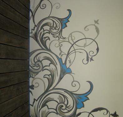 Contemporary Scroll Design in Clocktower Media Kirkland Seattle wall designs houzz