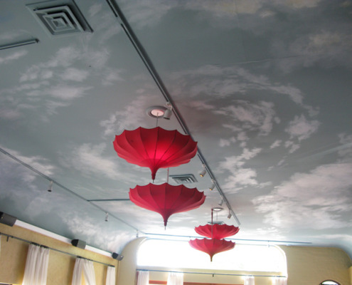 cloud ceiling murals Cloud Ceiling In Olive You Restaurant Kirkland red umbrellas restaurant design mural artist Seattle